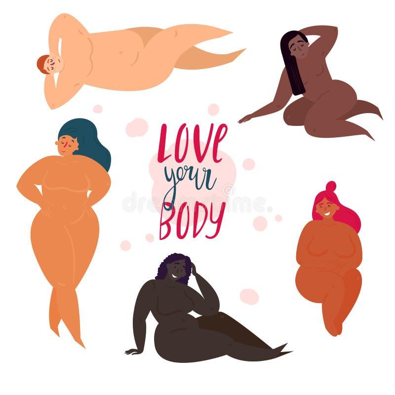 Moitié positive de femmes nues de corps Aimez votre fuselage illustration stock