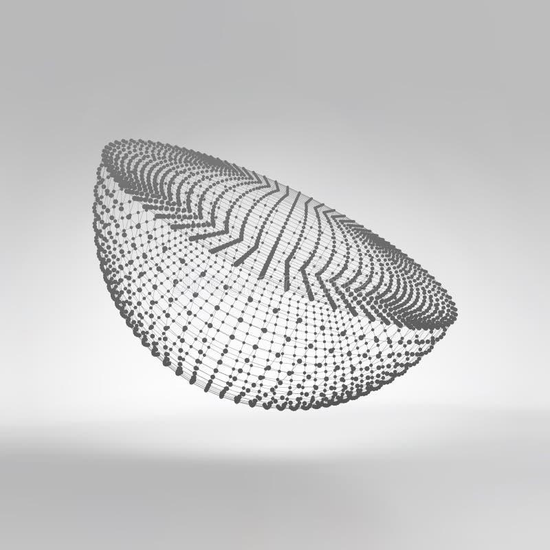 Moitié-sphère trellis moléculaire Structure de connexion illustration du vecteur 3d illustration libre de droits