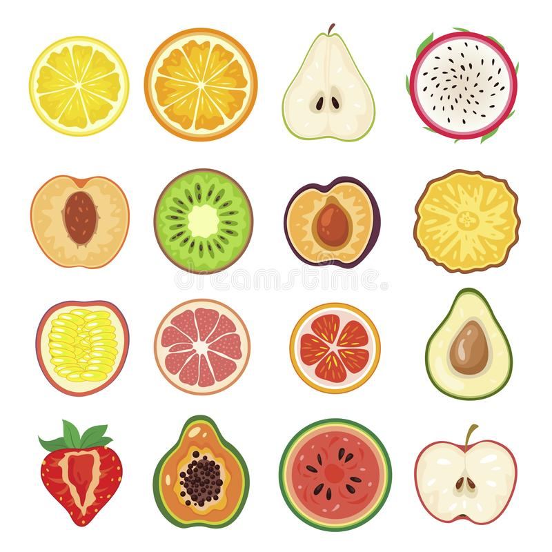 Moitiés d'ensemble de fruit, segment sain doux illustration stock