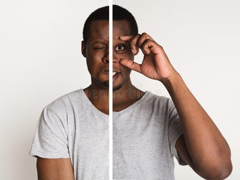 Moitiés des portraits masculins avec différentes expressions de visage photos stock