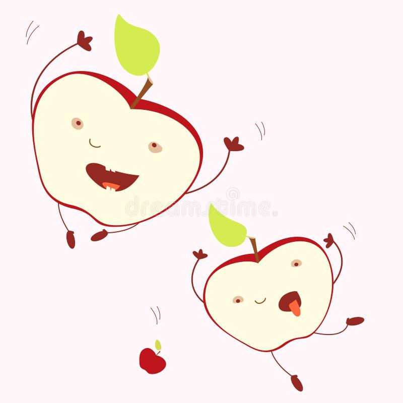 Moitiés joyeuses en baisse drôles de pomme d'expression Illustration d'isolement Concept de récolte, vie joyeuse, challeng optimi illustration libre de droits