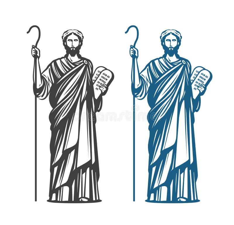Mojżesz chwyty w ręki dwa kamiennych pastylkach umowa z dziesięć przykazaniami Judaizm religia, Żydowski profeta symbol wektor ilustracja wektor