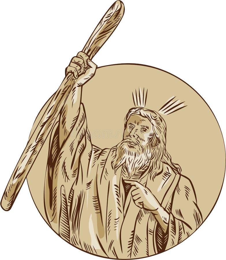 Mojżesz dźwigania personelu okręgu akwaforta ilustracji