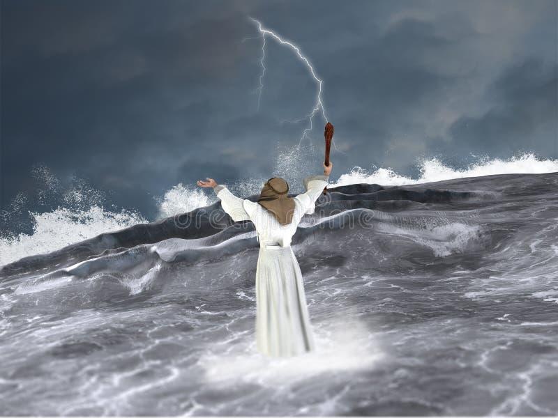 Mojżesz Rozdziela Czerwonego morza ilustrację ilustracja wektor