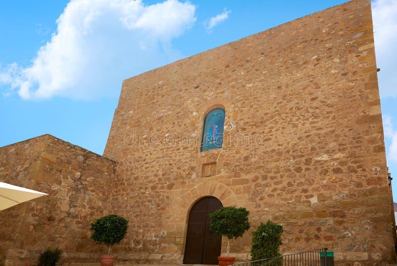 Mojacar阿尔梅里雅地中海教会在西班牙 库存照片