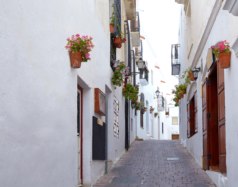 Mojacar阿尔梅里雅白色地中海村庄西班牙 库存照片