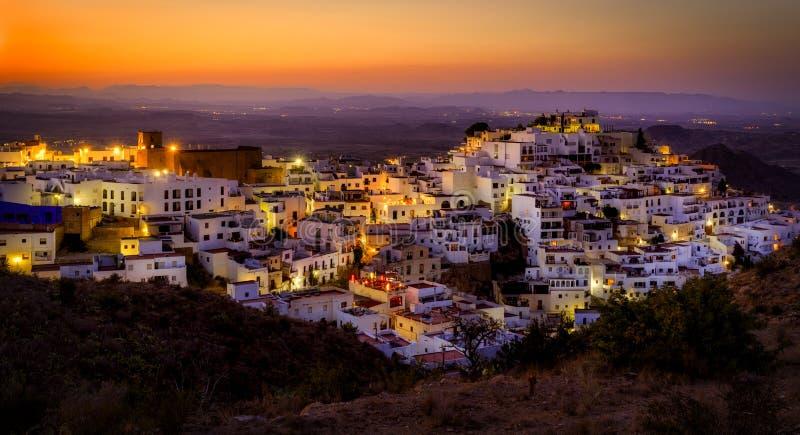 Mojacar τή νύχτα στοκ εικόνες