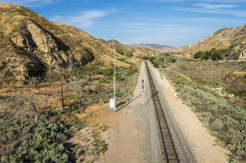 Mojave Desert Railroad Track. Railroad track in the Mojave Desert of southern California leads through a canyon royalty free stock photos