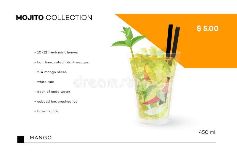 Mojito汇集 传染媒介与现实鸡尾酒的菜单模板 库存例证