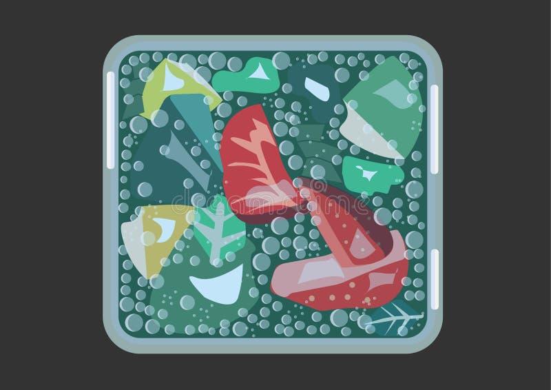 Mojito с клубниками в кубическом стекле с холодными векторными графиками тонов иллюстрация вектора