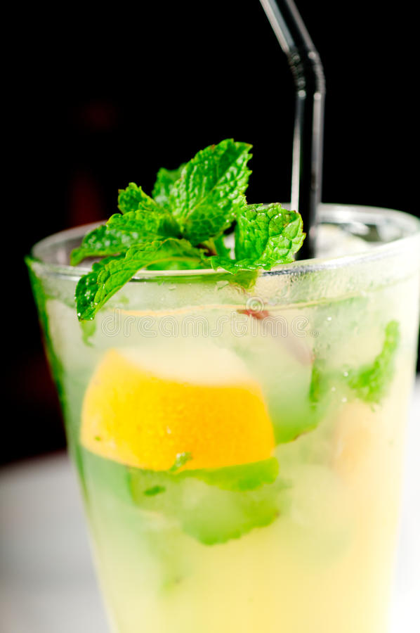 Mojito Caipirina Cocktail With Fresh Mint Leaves Stock Image