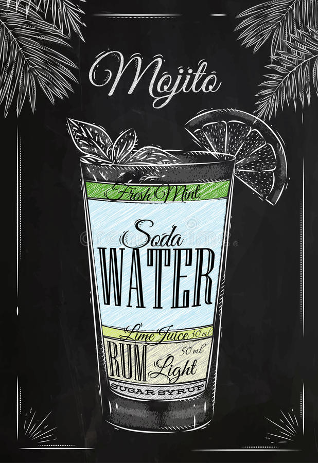 Mojito chalk. Mojito cocktail in vintage style stylized drawing with chalk on blackboard