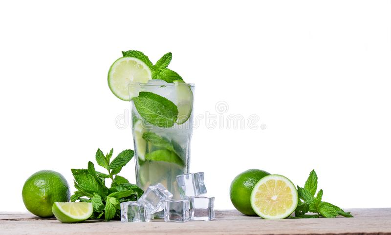 Mojito cocktail with fresh lime, mint leaves and ice cubes in a transparent glass stock images