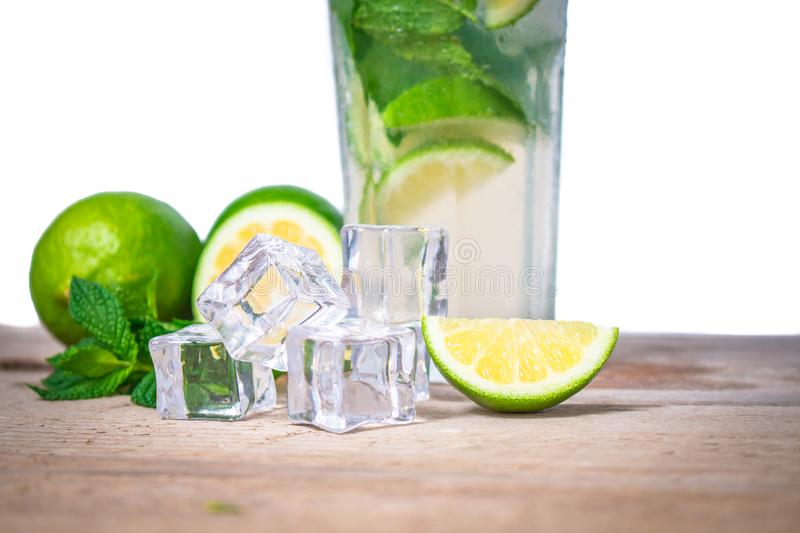Mojito cocktail with fresh lime, mint leaves and ice cubes in a transparent glass stock image