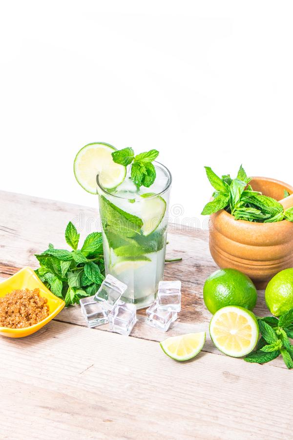 Mojito cocktail with fresh lime, mint leaves and ice. Refreshing alcohol drink. royalty free stock photos