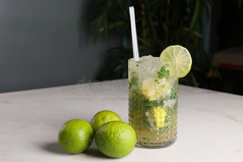 Mojito cocktail in glass,with mint and  limes royalty free stock photography