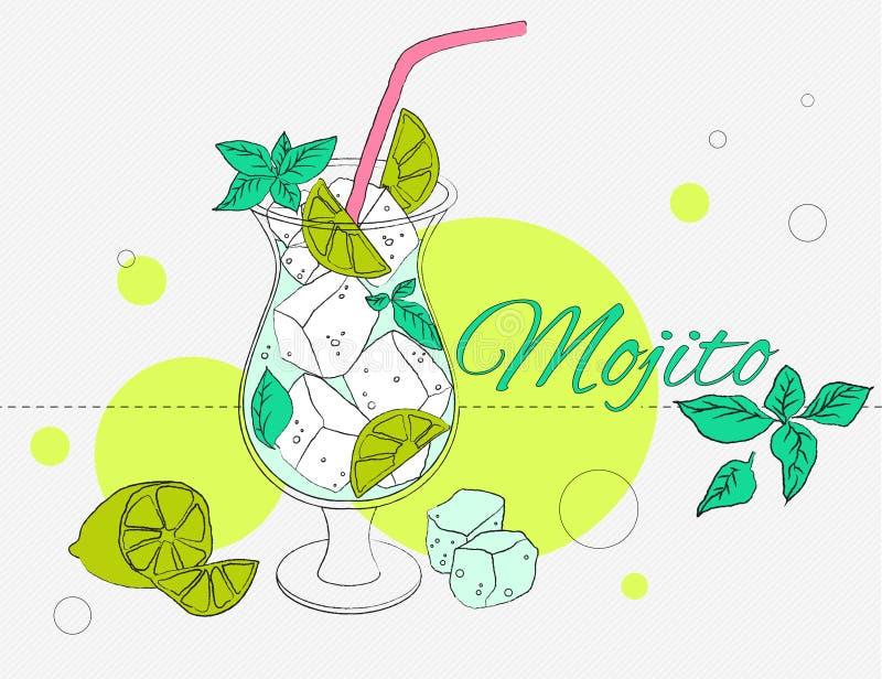 Mojito cocktail illustration. stock photo