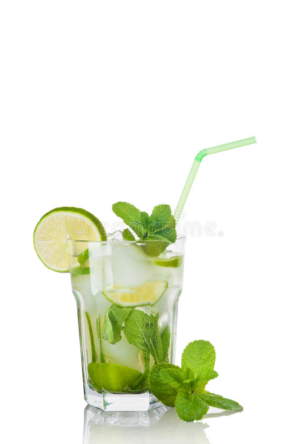 Mojito cocktail isolated. On white stock images