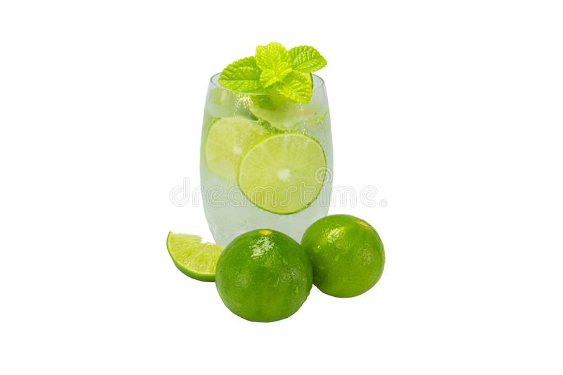 Mojito cocktail with lime and mint in glass for hot summer days and good for health. Isolated white stock photo