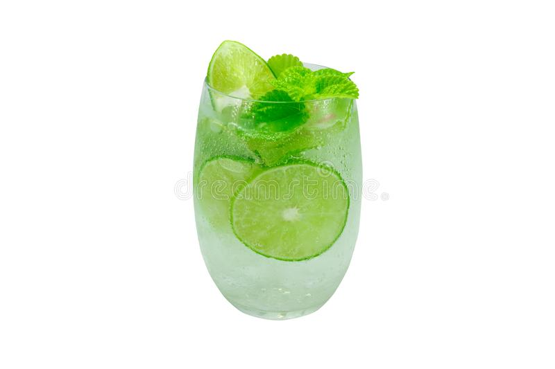 Mojito cocktail with lime and mint in glass for hot summer days and good for health. Isolated white , clipping path royalty free stock photos