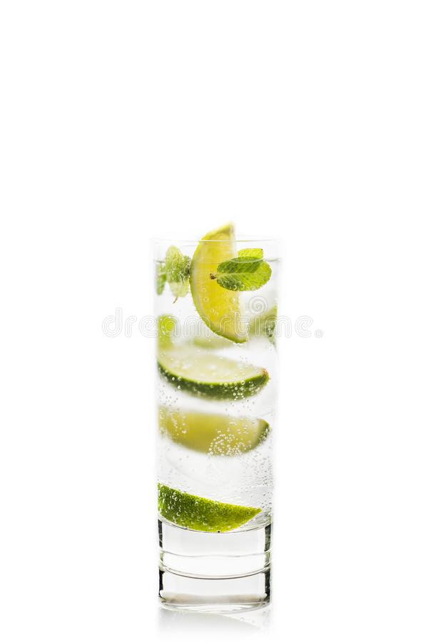 Mojito cocktail lime and mint isolated on white background stock image