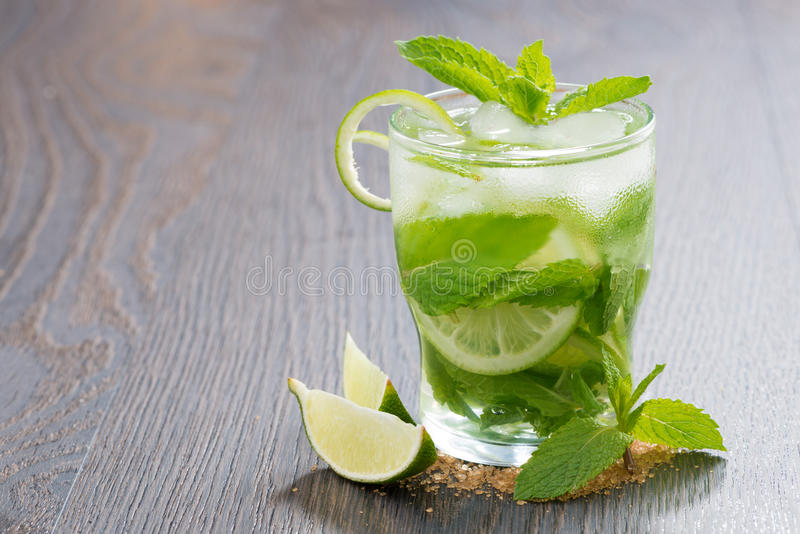 Mojito Cocktail With Lime And Mint On Wooden Table Stock Photo
