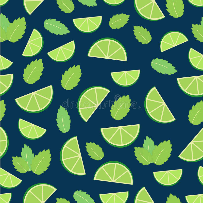 Mojito cocktail - seamless pattern of lime and mint leaves royalty free illustration