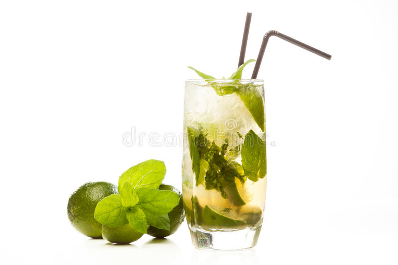 Mojito cocktail. On white background stock image