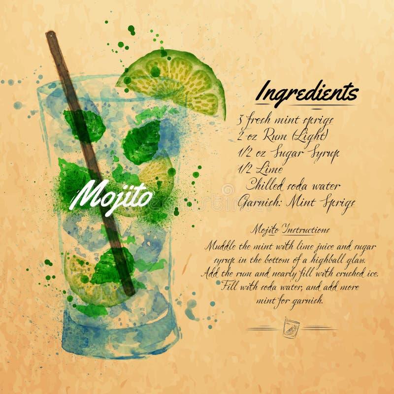 Mojito coctailvattenfärg kraft royaltyfri illustrationer