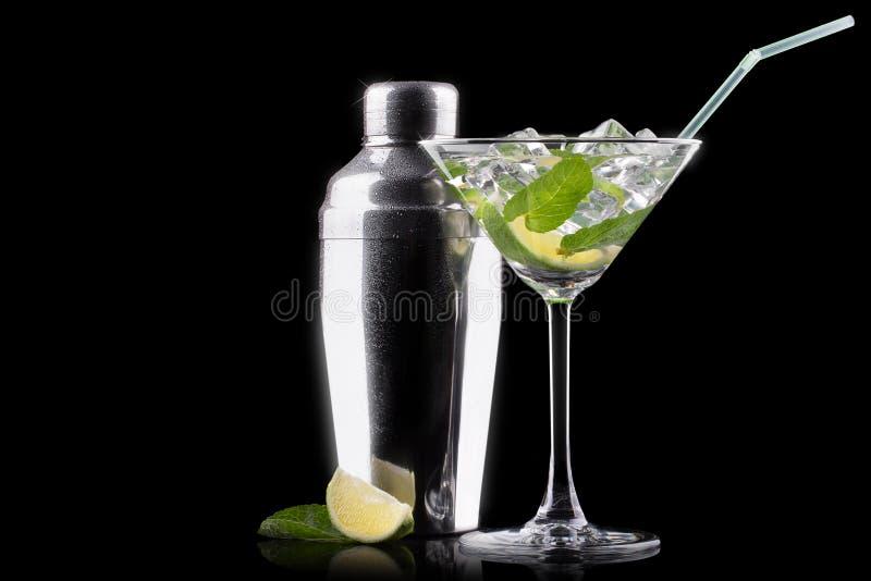 Mojito del cocktail sul nero immagine stock libera da diritti