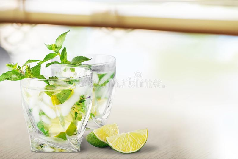 Mojito. Drink cold glass rum mint lemon royalty free stock photos