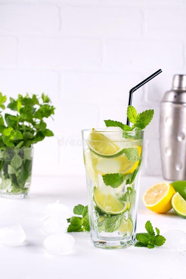 mojito för coctail för mintkaramelllimefrukt uppfriskande med is i exponeringsglas, nya ingredienser och shaker royaltyfri foto