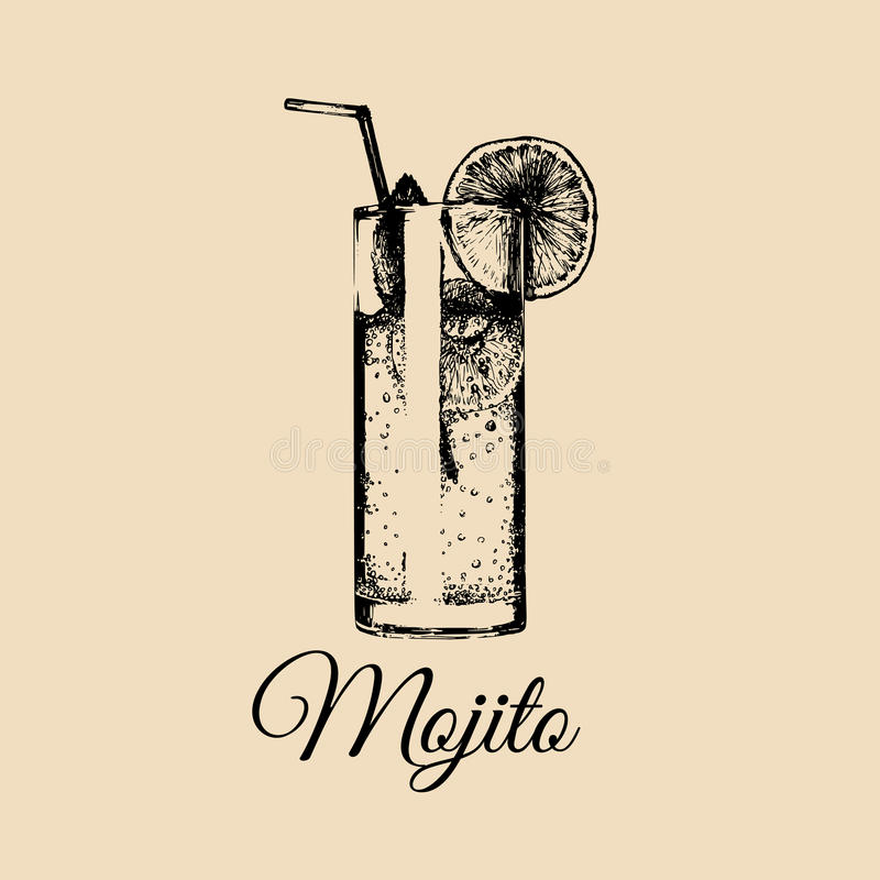 Mojito glass isolated. Hand drawn sketch of traditional cocktail with with slice of lime and straw for cafe menu design. Mojito glass isolated. Hand drawn stock illustration