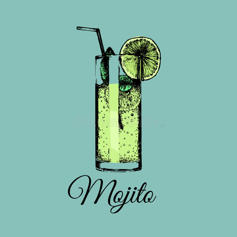 Mojito glass isolated.Vector illustration of alcoholic drink.Hand drawn sketch of cocktail with slice of lime and straw. Mojito glass isolated. Vector vector illustration