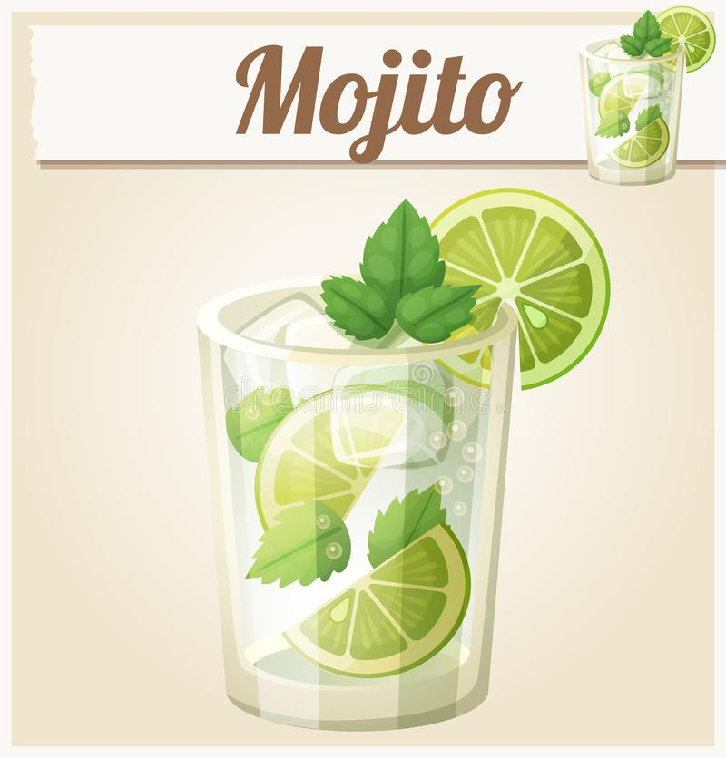 Mojito illustration. Cartoon vector icon. Series of food and drink and ingredients for cooking royalty free illustration