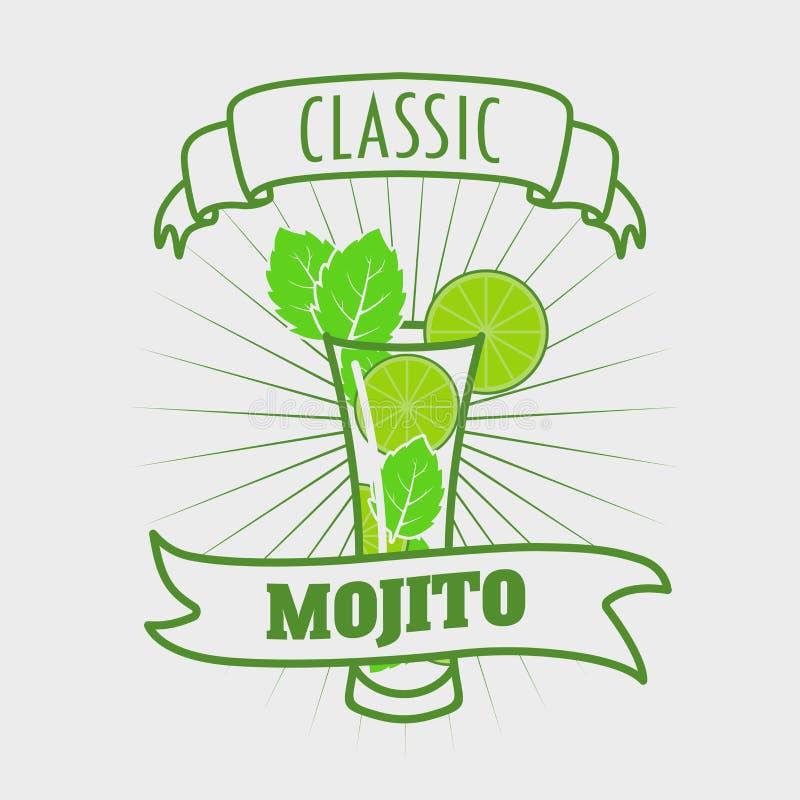 Mojito klasyka koktajl Wektorowa ilustracja świeży i słony napój ilustracji
