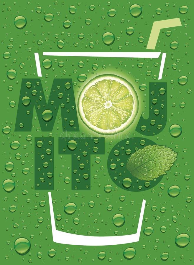 Mojito namn med limefruktskivan, mintkaramellbladet och många vattendroppar royaltyfri illustrationer