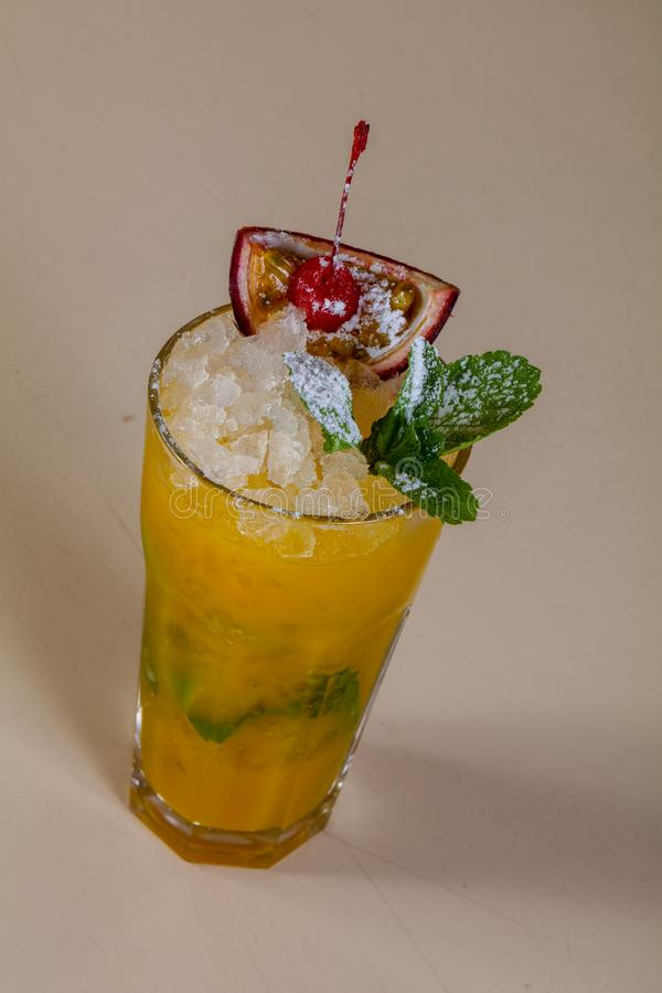 Mojito with passion fruit. And mint stock image