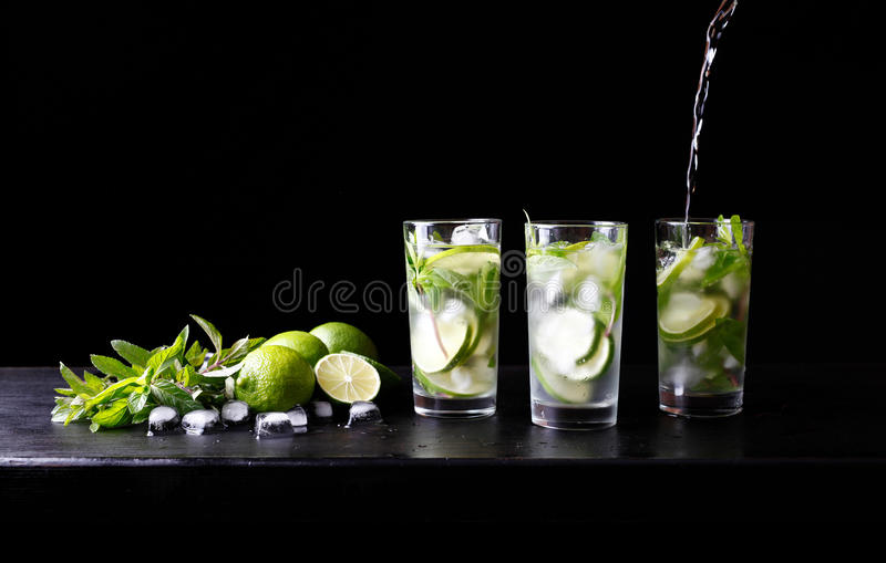 Mojito preparation summer vacation refreshing tropical cocktail non alcohol drink in glass with soda water royalty free stock photo