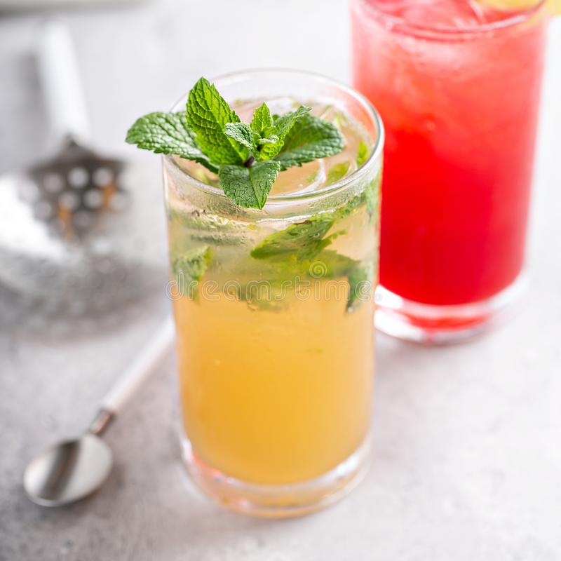 Mojito and Sea breeze cocktail. S or mocktails royalty free stock photo