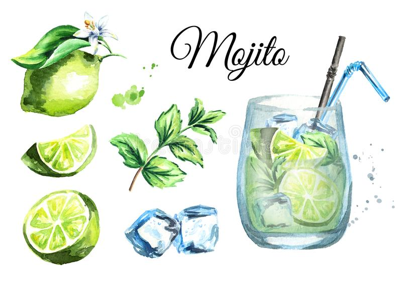 Mojito set with Glass, ice cubes, lime and mint. Watercolor hand drawn illustration. Mojito set with Glass, ice cubes, lime and mint. Watercolor hand drawn stock illustration