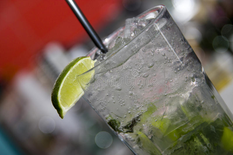 Mojito with soda and lime close up royalty free stock photos