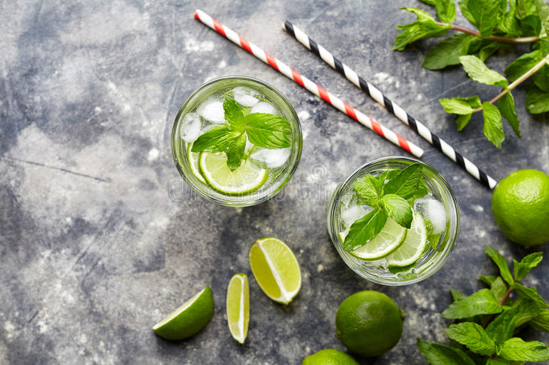 Mojito traditional Cuban cocktail alcohol refreshment drink in highball glass, summer tropical vacation beverage with stock photography