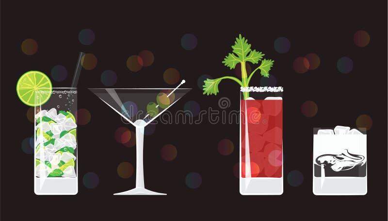 Mojito, trockener Martini, blutig heiraten und weiße russische Cocktails vektor abbildung
