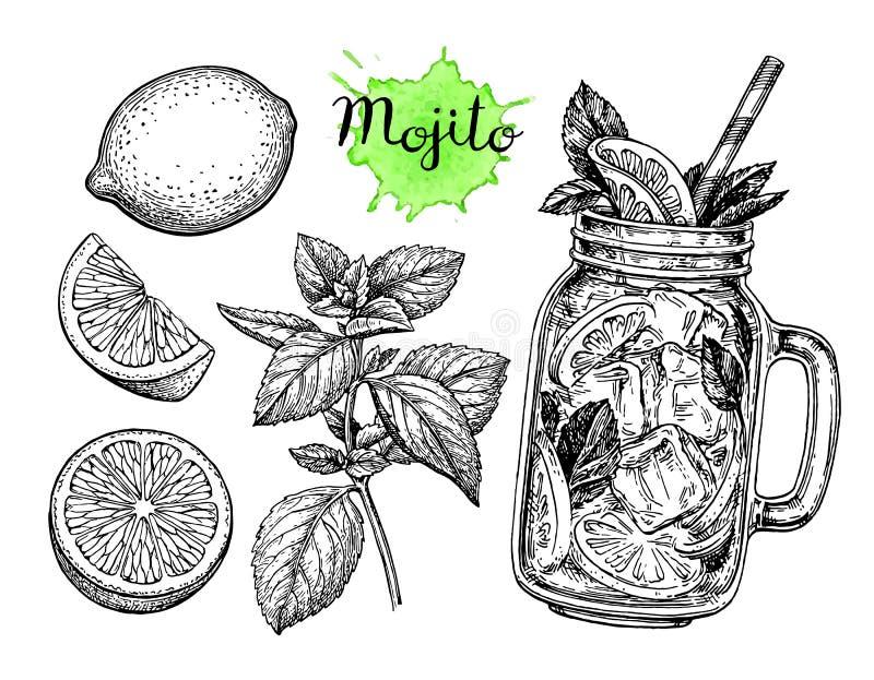 Mojitodrank en ingrediënten royalty-vrije illustratie