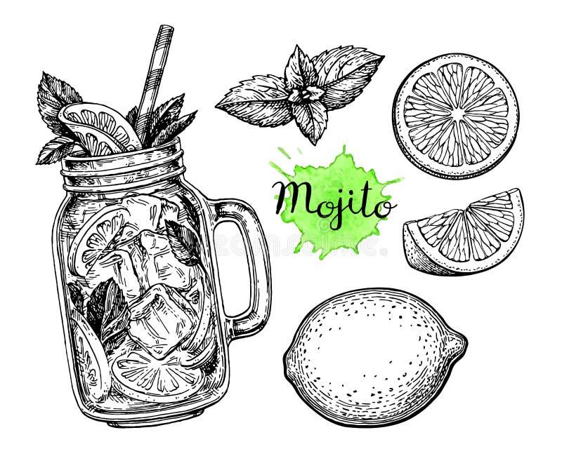 Mojitodrank en ingrediënten stock illustratie