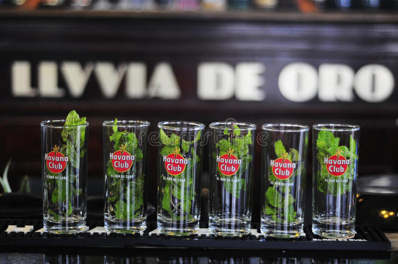 Mojitos in line, a well known cuban cocktail stock photo