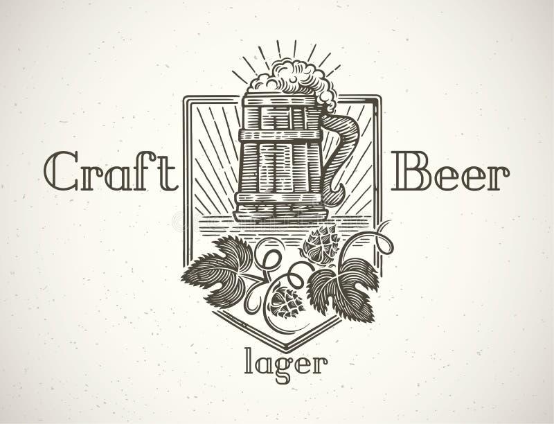 Mok bier in een grafische stijl stock illustratie