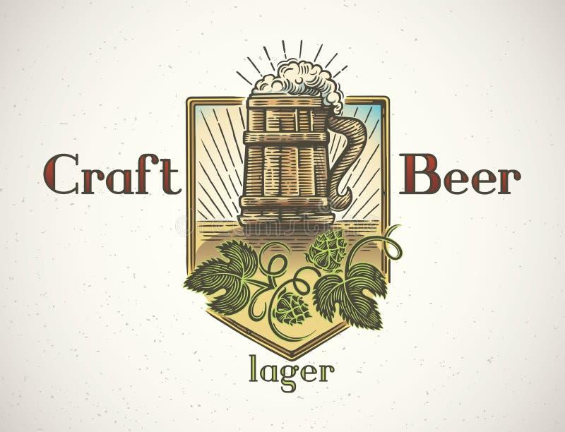 Mok bier in een grafische stijl royalty-vrije illustratie