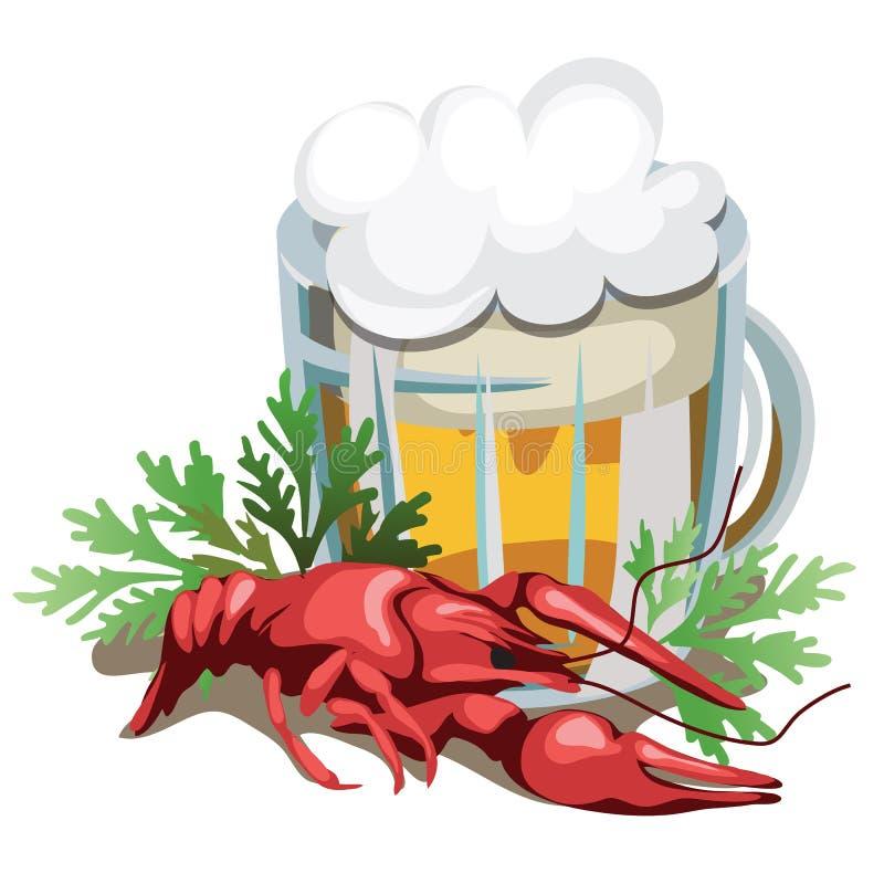 Mok bier met gekookte rivierkreeften royalty-vrije illustratie